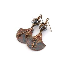Blue Wash Industrial Style Metal Wire Earrings by CinLynnBoutique