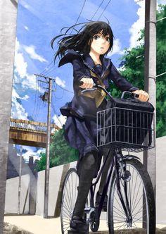 二次の女の子の画像4 Manga Girl, Manga Anime, Bicycle Wallpaper, Bicycle Illustration, Japanese Illustration, Character Art, Character Design, Bike Sketch, Anime School Girl
