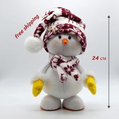 Items similar to Snowman buy Snowman in hat and scarf toy for Cristmas a gift for the new year Christmas decor snowman doll christmas snowman on Etsy Christmas Cake Topper, Pink Christmas Decorations, Christmas Ornament Crafts, Snowman Crafts, Christmas Gnome, Halloween Crafts, Fun Crafts, Sock Snowman, Snowmen