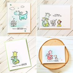 All my #mftstamps Dragon cards.  #cardmaking #princess #dragon #yellow…