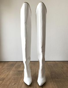 color: as shown or custom color material: synthetic material MADE TO ORDER (NOT IN STOCK) - thigh-hi boots with golden piping - funnel shaped structured shaft - slit-back design for easy bending - back zip - stiletto heel - steel rod inside the heel Ballet Shoes, Dance Shoes, Steel Rod, White Boots, Knee High Boots, Heeled Boots, Stiletto Heels, Thighs, Vintage Fashion