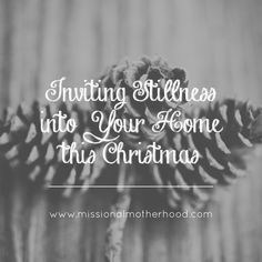 """Amy Wages shares beautiful truths and practical tips for inviting stillness into your home this Christmas!   """"My goal for myself, and encouragement to you, this season would be to stop and pause for more of those """"hushed"""" or """"still"""" moments. With a home full of people, this doesn't mean each attempt will include a quiet house. But we can work on the peace of """"stillness"""" in our hearts as we go about the day, intentionally focusing on the One it is all about."""" missionalmotherhood.com"""