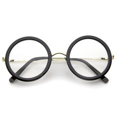 Lennon Retro Fashion Thick Frame Metal Temple Round Clear Lens Glasses 50mm