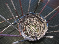 News paper basket- my dad used to make baskets like this with his class...