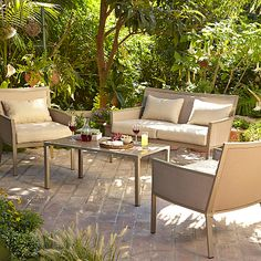 George Home Grace 4 Piece Sofa Set - Taupe & Linen Garden Furniture, Outdoor Furniture Sets, Converted Shed, Outdoor Seating, Outdoor Decor, Asda, Sofa Set, Taupe, Outdoor Living