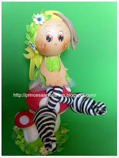 Cute little zebra fairy on her mushroom toadstools doll...made from fun foam...follow photo