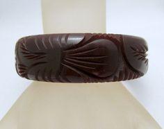 Dark Chocolate Bakelite Deeply Carved by GrapenutGlitzJewelry