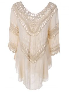 GET $50 NOW | Join RoseGal: Get YOUR $50 NOW!http://www.rosegal.com/blouses/plunge-v-neck-crochet-loose-660301.html?seid=4482195rg660301