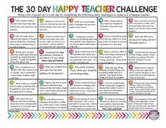 The 30 Day Happy Teacher Challenge - Presto Plans Teacher Morale, Staff Morale, School Staff, School Classroom, Classroom Ideas, Middle School, Classroom Birthday, School Librarian, School 2017