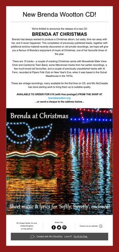New Brenda at Christmas CD - only £10 with FREE POSTAGE! Christmas Albums, Christmas Carol, Time Of The Year, Running Away, Choir, The Voice, Shit Happens, Free, Greek Chorus