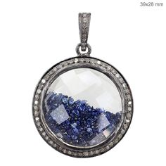 Gemstone Shaker Pendant Pave Diamond 925 Sterling Silver Handmade New Jewelry #raj_jewels