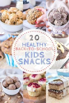 Are you looking for super yummy snack ideas for kids to add to a school lunch box? Here are20 Healthy Back To School Kids Snacksthat your kids will LOVE! ----- #backtoschool #snacks #healthysnacks #healthysnacking #healthysnackideas #energyballs #cookies #cookierecipes #muffins #minimuffins #kidssnack #healthykidssnack #lunchboxsnack #afterschoolsnack #recipes #healthyrecipes #peanutbutter #vegan #vegansnacks Healthy Snacks For Kids, Easy Snacks, Yummy Snacks, Snack Recipes, Dessert Recipes, Yummy Food, Muffin Recipes, Easy Recipes, Health Recipes