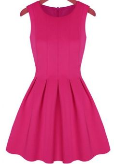 Pink Sleeveless Pleated Flare Dress