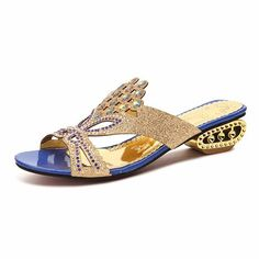 Rhinestone Crystal Butterflyknot Beaded Peep Toe Hollow Out Slip On Slippers