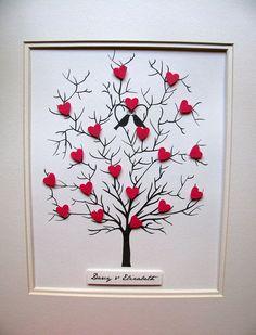 11x14 Tree of 3D Mini Hearts. Anniversary. Wedding. Special