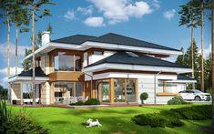 House Plan Dom z widokiem on Behance Modern Villa Design, Home Design Floor Plans, Luxury Landscaping, Bungalow House Design, Luxury House Plans, Building Exterior, Mansions Homes, Tuscan Style, Facade House