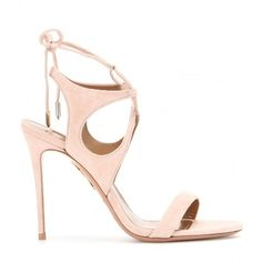 Aquazzura Colette Suede Sandals (€665) ❤ liked on Polyvore featuring shoes, sandals, light pink sandals, aquazzura shoes, aquazzura, light pink shoes and suede shoes
