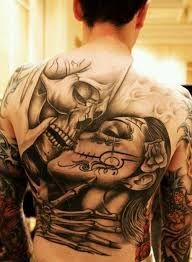 50 incredible Santa Muerte tattoos, great designs from all over the world. Pretty and colorful or dark and terrifying portraits of Santa Muerte. La Muerte Tattoo, Catrina Tattoo, Gangster Tattoos, Chicano Tattoos, Caveira Mexicana Tattoo, Los Muertos Tattoo, Backpiece Tattoo, Tattoo Ink, Wild Tattoo