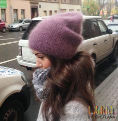 Купить Двухслойная объемная шапка из кид мохера и шелка - шапка, шапка вязаная, шапка зимняя