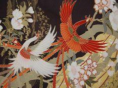 Vintage furisode Chinese phoenix silk kimono fabric(#S1011019)
