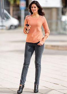 #coral #sweater with #embellished shoulders #bonprix