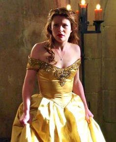 OUAT Challenge Day 16: Favourite Outfit = Belle's yellow dress. It's absolutely stunning, and Emilie looks beautiful in it. It's a nod to the Disney dress, whilst still being perfect in its own right... Actually, all of Belle's outfits are amazing.