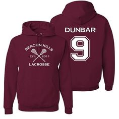 Adult Dunbar 9 Lacrosse Hoodie (£20) ❤ liked on Polyvore featuring tops, hoodies, purple hooded sweatshirt, purple top, purple hoodies, hooded pullover and hooded sweatshirt
