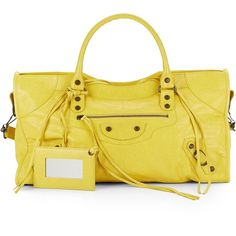 Balenciaga Leather Giant Part Time Bag ($1,200) ❤ liked on Polyvore featuring bags, handbags, shoulder bags, yellow shoulder bag, leather hand bags, yellow purse, yellow handbags and leather purses
