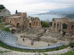 Greek Amphitheatre, Taormina by TravelPod member Freetogo, from Sicily, Italy ... WIth a backdrop of the Ionian coastline and Mt. Etna this has to be the most beautiful of all Sicily's amphitheatres if not in Europe.
