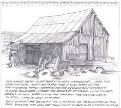 Sketch book pencil drawing of Old Barn at Capitol Reef