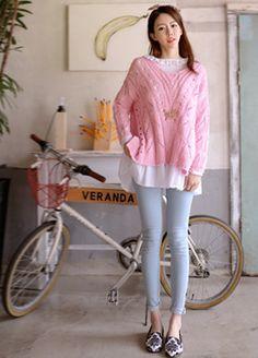 Eyelet Loose Knit Pullover  SFSELFAA0012657