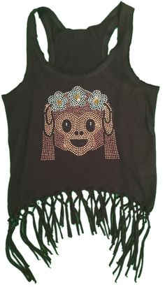 FBV Girls Fringe Emoji Monkey Black Crop Tank Top