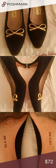 Ferragamo black suede pumps 7.5 4A Pre-owned, beautifully kept. Black suede pump.  Comes with box and duster. 7.5 AAAA Salvatore Ferragamo Shoes Heels