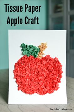 Perfect for back to school and fall crafts this Tissue Paper Apple Craft helps kids work on fine motor skills & hand-eye coordination.