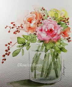 Watercolor Prints by RoseAnn Hayes: Bouquet of Flowers Watercolor Paintings