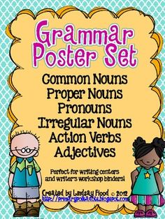 {FREE} Grammar Poster Set-Common Nouns & Proper Nouns Poster- Action Verbs- Adjectives-Pronouns- Irregular Nouns  Pinned by SOS Inc. Resources http://pinterest.com/sostherapy.