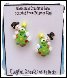 Becky's Polymer Clay - Snowman Christmas Tree Hugger Earrings, Post