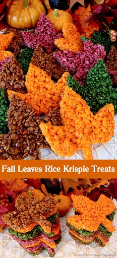 These beautiful Fall Leaves Rice Krispie Treats are delicious, easy to make and perfect for a Thanksgiving treat or an autumn potluck dessert. Who wouldn't want a colorful Rice Krispies Treat maple leaf as a Thanksgiving dessert? Desserts Potluck, Holiday Desserts, Holiday Treats, Easy Fall Desserts, Fall Snacks, Fall Party Foods, Fall Party Ideas, Snacks Kids, Party Treats