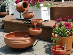 Terracotta Kaskaden Brunnen Mediteraner Garten, Brunnen Garten, Ideen  Brunnen, Wassergarten, Terrakotta