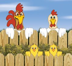 Chicken Fence Peekers Wood Pattern Our over-sized Chicken family fence peekers will have your neighbors crowing with laughter! #diy #woodcraftpatterns