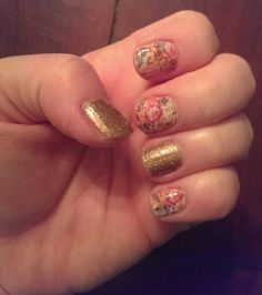 Jamberry nails- memory lane with gold sparkle kendrasheehan.jamberrynails.net