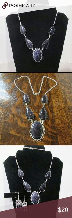 "Blue Goldstone Statement Necklace Gorgeous deep indigo sparkle. Graduated bezel set stones. 26"" long. Silver plate.  Bonus handmade chandelier earrings! Lapis & crystals. Approx 2"".  NWOT, gift boxed.  Note~  all goldstone is man-made :) Jewelry Necklaces"
