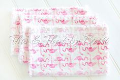 Pink Flamingo- Flannel Burp Rag- Set of 3