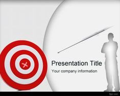 Free goals and objectives PPT template background with red target and arrow with a business man illustration and gray background style.