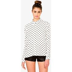 White Polka Dot Blouse Cute polka dot print. Slightly see through material. Comes with an extra button. No trades. No PayPal. Forever 21 Tops Blouses