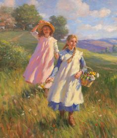 gregory frank harris paintings - Gathering Wildflowers