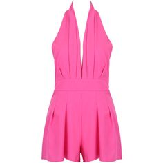 Hot Pink Halter Plunge Neck Backless Romper Playsuit ($24) ❤ liked on Polyvore featuring jumpsuits, rompers, halter-neck tops, pink romper, playsuit romper, plunge neck romper and pink halter top