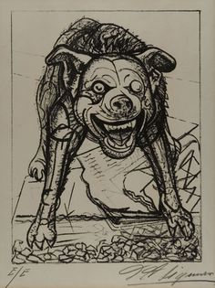 """""""Snarling Dog"""", 1945, David A. Siqueiros, Mexican (1896-1974), lithograph on paper, 11 3/4 x 8 3/4 in. Museum purchase with funds from the Benefactors Fund, 1979. 1979.2622"""