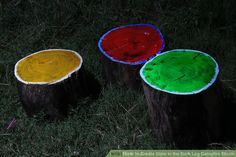 Create Glow in the Dark Log Campfire Stools Step Things You'll Need Stools - permanent or portable (even log stumps can work) Glow-in-the-dark (luminous or luminescent paint) paint,