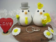 Love Birds Wedding Cake Topper with Clay Base and by Garden4Arts, $69.00